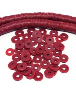 Perles rondelles Heishi en fimo rouge foncé