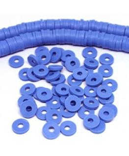 Perles rondelles Heishi en fimo bleu bleuet