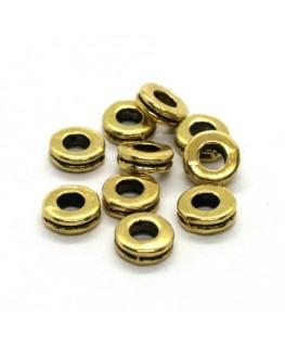 Perles rondelles intercalaires dorées 6mm