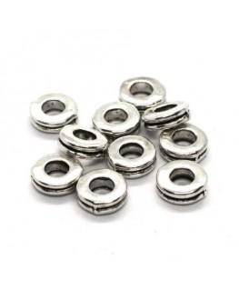 Perles rondelles intercalaires argent vieilli 6mm