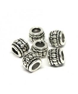 Perles métal tonneau 8mm argent