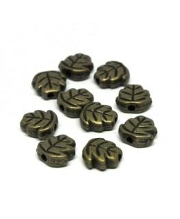 Perles métal feuille bronze x10