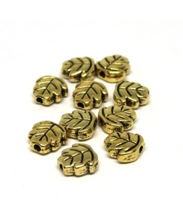 Perles métal feuille doré x10
