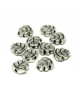 Perles métal feuille argent vieilli x10