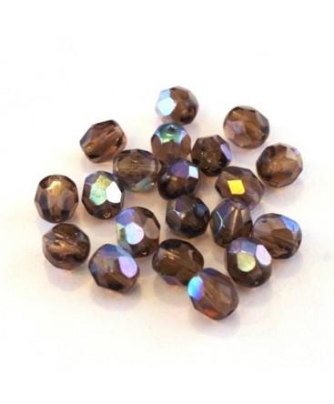 Perles à facettes 6mm muscade irisé AB