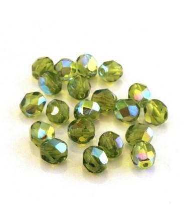 Perles à facettes 6mm olivine irisé AB
