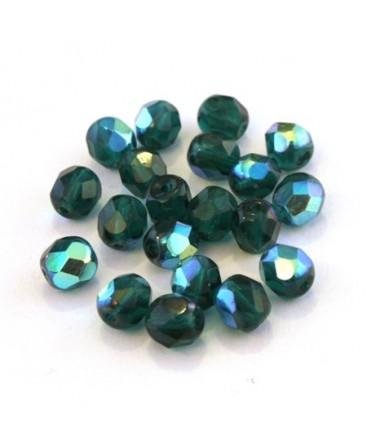 Perles à facettes 6mm menthe irisé AB