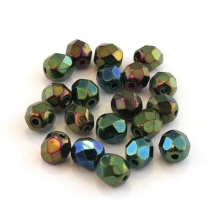 Perles à facettes 6mm vert iris métallisé