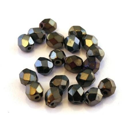 Perles à facettes 6mm gris iris métallisé