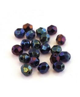 Perles à facettes 6mm bleu iris métallisé