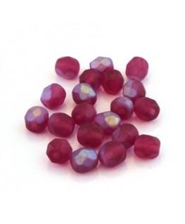 Perles à facettes 6mm fuchsia mat irisé AB