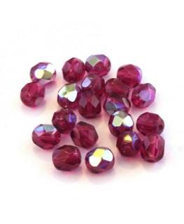Perles à facettes 6mm fuchsia irisé AB