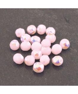 Perles à facettes 6mm rose alabaster irisé AB