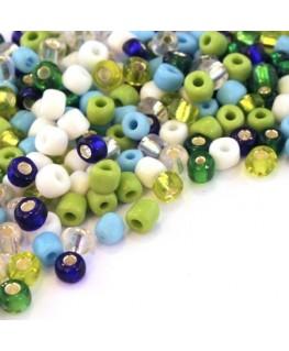 Perles de rocailles 4mm assortiment vert et bleu