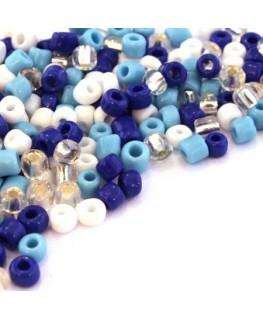 Perles de rocailles 4mm assortiment bleu et turquoise