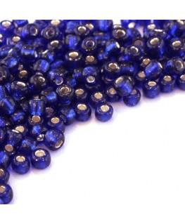Perles de rocailles 4mm bleu foncé silver lined
