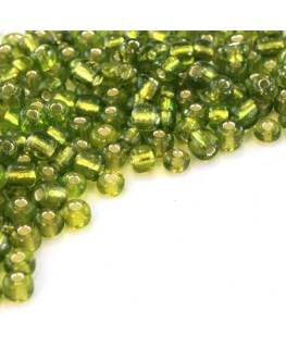 Perles de rocailles 4mm vert silver lined