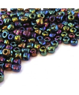 Perles de rocailles 4mm noir irisé