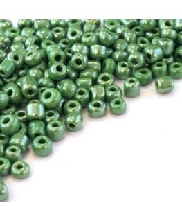 Perles de rocailles 4mm vert opaque lustré