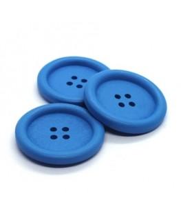 Bouton en bois 30mm bleu