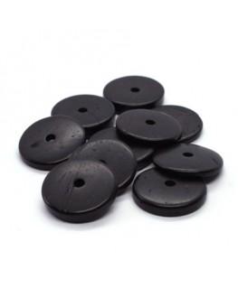 Perles rondelles en coco 20mm noir