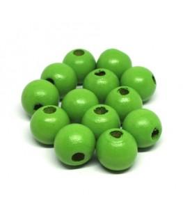 Perles en bois 12mm vert x20