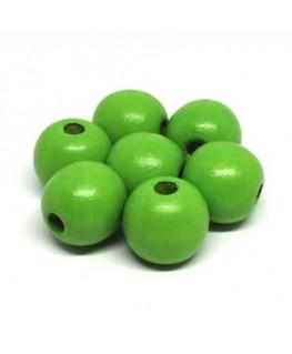 Perles en bois 16mm vert x10
