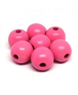 Perles en bois 16mm rose x10