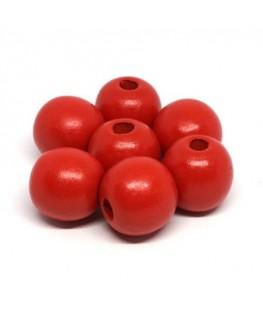 Perles en bois 16mm rouge x10