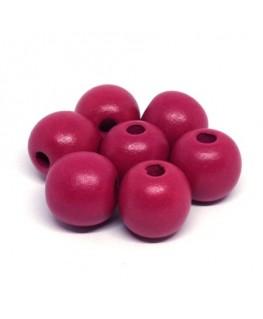 Perles en bois 16mm fuchsia x10