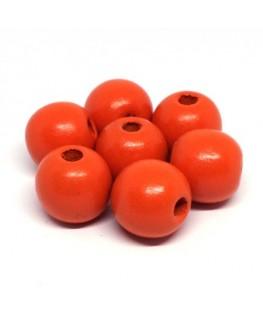Perles en bois 16mm orange x10