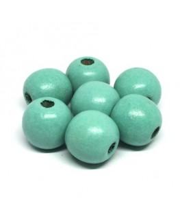 perles en bois aquamarine 16mm x10