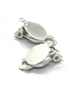 Attaches boucles d'oreilles clip plateau 10mm argenté