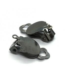 Attaches boucles d'oreilles clip plateau 10mm gunmetal