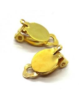 Attaches boucles d'oreilles clip plateau 10mm doré