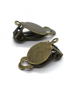 Attaches boucles d'oreilles clip plateau 10mm bronze