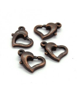 Fermoirs mousqueton coeur cuivre x4