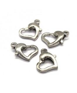 Fermoirs mousqueton coeur vieil argent x4