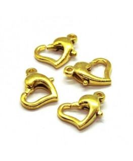 Fermoirs mousqueton coeur dorés x4