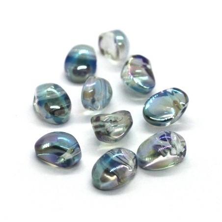 Perles gouttes aplaties en verre 8mm cristal vert AB