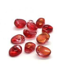 Perles gouttes aplaties en verre 8mm rouge doré