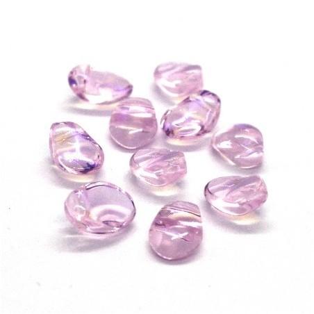 Perles gouttes aplaties en verre 8mm rose AB