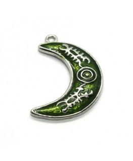 Breloque émaillée lune vert