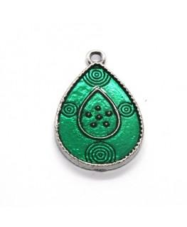 Breloque émaillée goutte jade