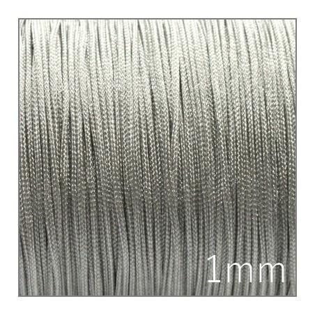 Fil nylon tressé 1mm gris argent