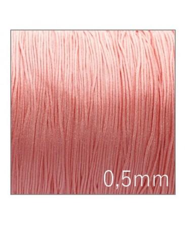 fil nylon tressé 0,5mm rose pêche