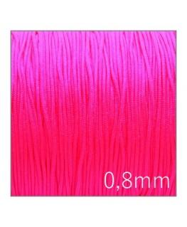 Fil nylon tressé 0,8mm rose fluo 5m