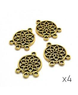 Breloque chandelier connecteur fleur doré x4