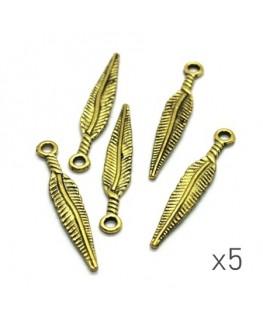 Breloque plume doré 28mm x5
