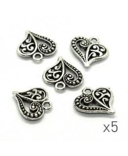 Breloque coeur arabesque argentée x5